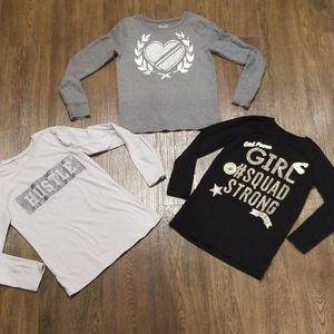 Lot of 3 Girl's long sleeve shirts size L - 10/12
